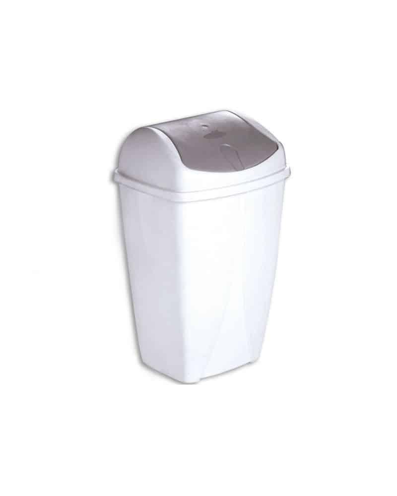 Poubelle avec couvercle basculant blanc