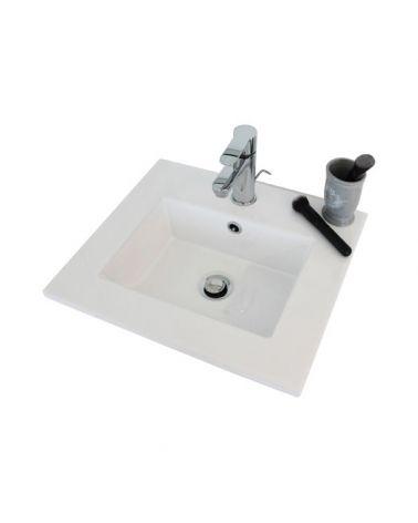 Vasque rectangulaire en céramique L.45 cm à encastrer