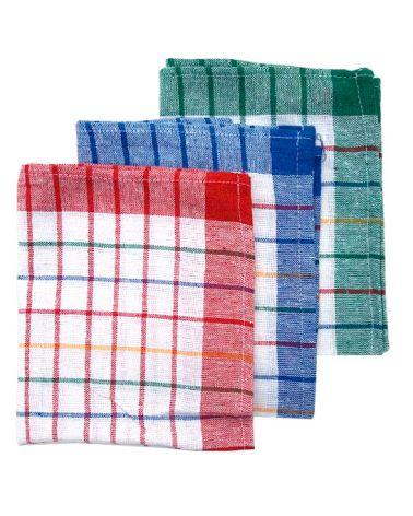 Lot de 10 torchons 100 % coton 3 couleurs assorties