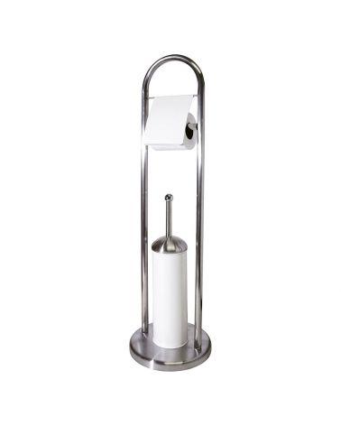 Serviteur WC en métal Chrome / Blanc