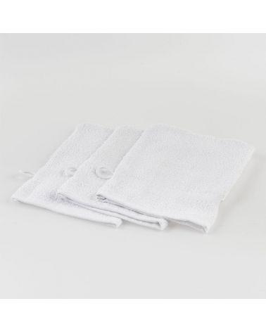 Gant de toilette surjeté 15 x 20 cm Blanc, 20 pièces